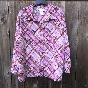 Susan Graver Pink Plaid Button Up Shirt